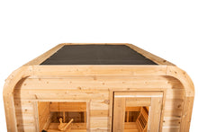 Load image into Gallery viewer, View of the roof with roof cover of the Dundalk Leisurecraft Canadian Timber Luna Sauna