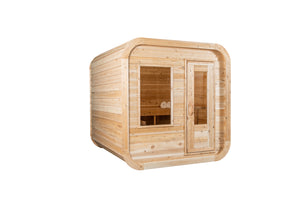 Dundalk Leisurecraft Canadian Timber Luna Sauna with white background facing the right