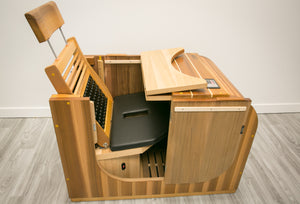 Health Mate - Essential Lounge Infrared Sauna facing far right showing side and inside seat cushion