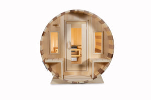 Dundalk Leisurecraft Canadian Timber Tranquility Barrel Sauna facing front with white background
