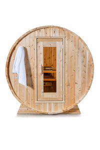 Dundalk Leisurecraft Canadian Timber Harmony Barrel Sauna with white background facing the front