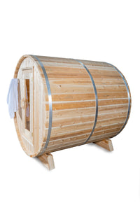 Dundalk Leisurecraft Canadian Timber Harmony Barrel Sauna with white background facing far left