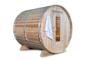 Dundalk Leisurecraft Canadian Timber Harmony Barrel Sauna with white background facing right