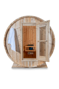 Dundalk Leisurecraft Canadian Timber Harmony Barrel Sauna with white background facing the front with the door open and towle hanging on the left side towel rack
