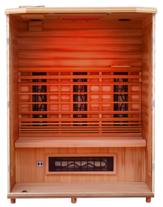 Health Mate - Enrich III Infrared Sauna with front panel removed showing inside structure, red chromotherapy color