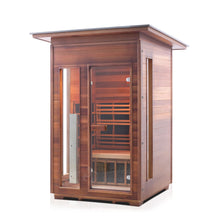 Load image into Gallery viewer, Enlighten Sauna Rustic 2 Person Slope Roof facing left in white background