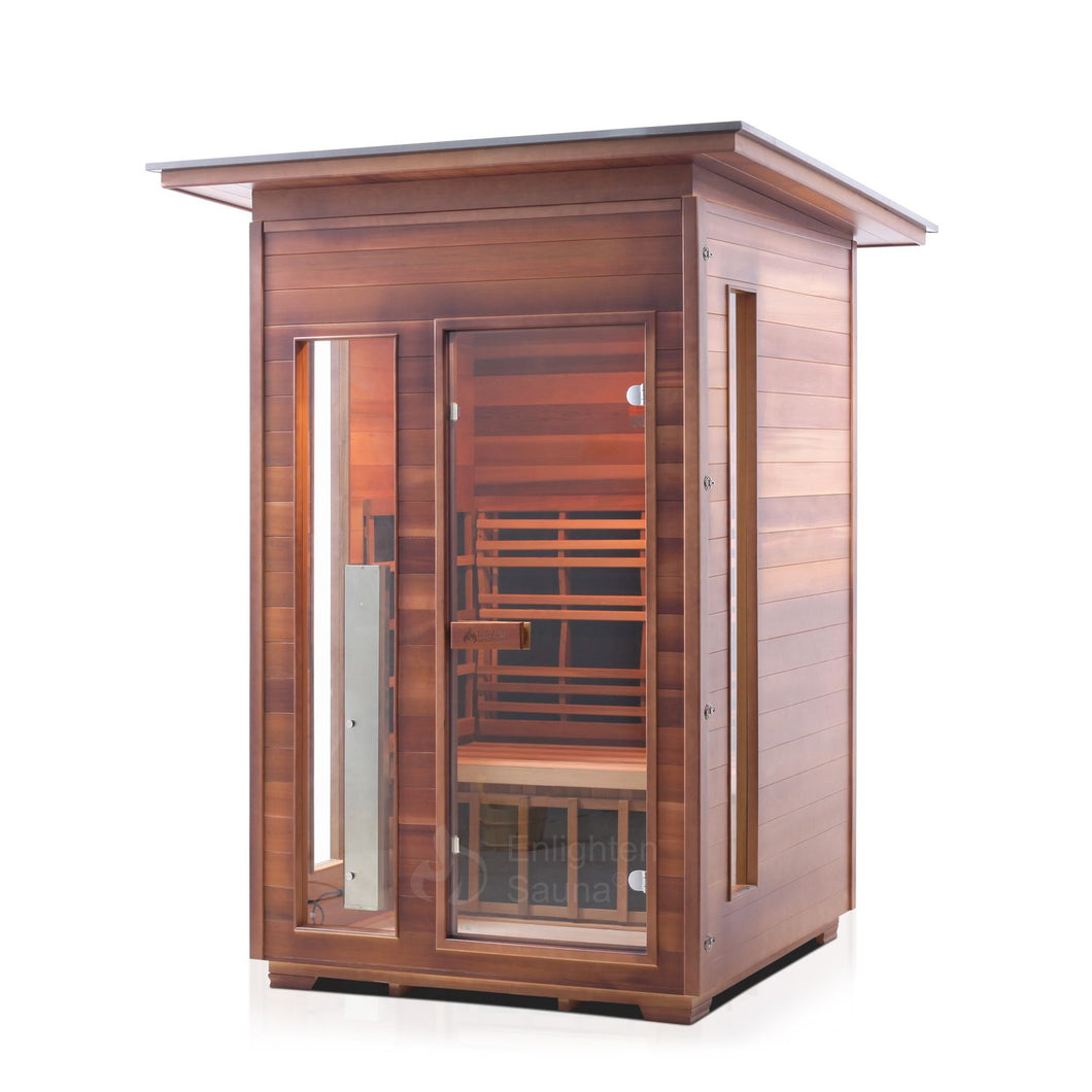 Enlighten Sauna Rustic 2 Person Slope Roof facing left in white background