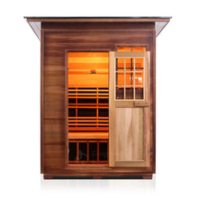 Load image into Gallery viewer, Enlighten Sauna Sierra 3 Person Slope Roof front facing view with door open in a white background