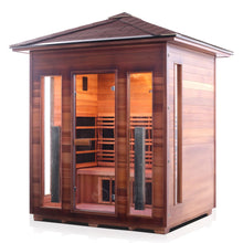 Load image into Gallery viewer, Enlighten Sauna Rustic 4 Person Peak Roof facing left with white background