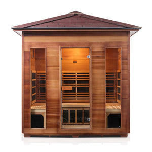 Enlighten Sauna Rustic 5 Person Peak Roof front facing view with white background