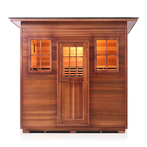 Enlighten Sauna Sierra 5 Person Slope Roof with front facing view in white background