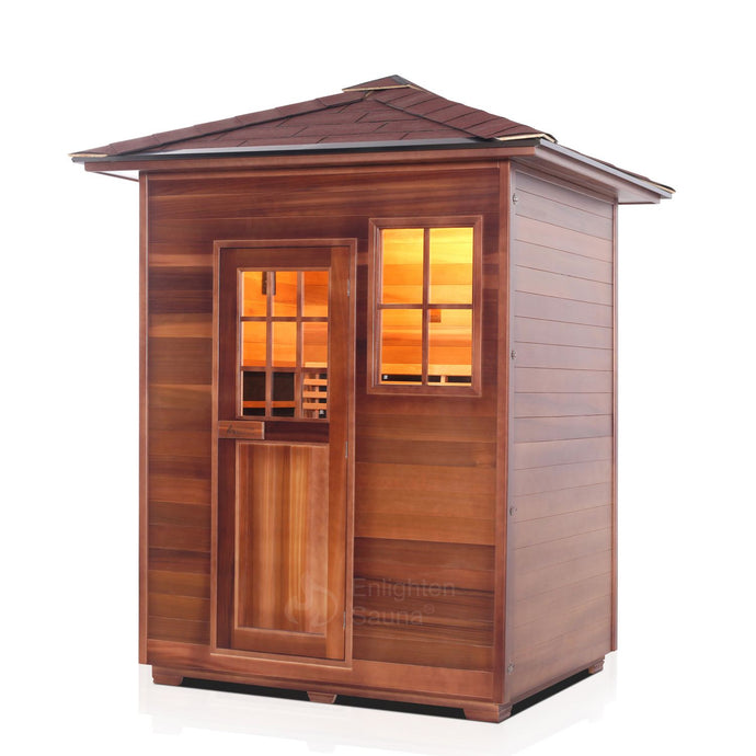 Enlighten Sauna Sierra 3 Person Peak Roof facing left with white background