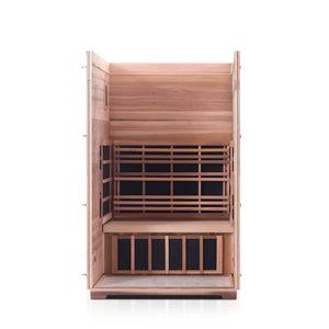 Enlighten Sauna Sierra 2 Person Peak Roof with front panel and roof removed showing the inside structure