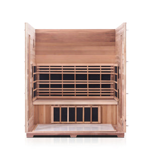 Enlighten Sauna Rustic 4 Person Peak Roof with roof and front panel taken off, showing the inside