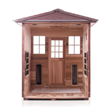 Load image into Gallery viewer, Enlighten Sauna Sierra 4 Person Peak Roof with front panel removed showing the inside structure