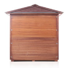 Load image into Gallery viewer, Enlighten Sauna Sierra 5 Person Peak Roof backside view with white background