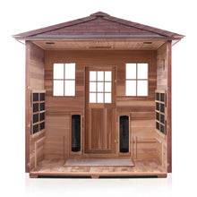 Load image into Gallery viewer, Enlighten Sauna Sierra 5 Person Peak Roof with back panel removed showing the inside structure