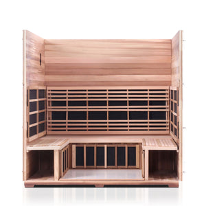 Enlighten Sauna Sierra 5 Person Peak Roof with roof and front panel removed showing the inside structure