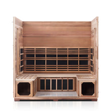Load image into Gallery viewer, Enlighten Sauna Rustic 5 Person Peak Roof with roof and front panel removed showing the inside of the sauna