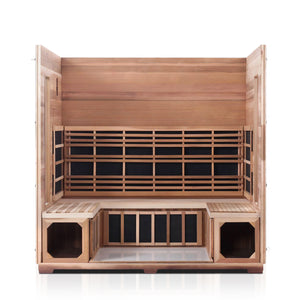 Enlighten Sauna Rustic 5 Person Peak Roof with roof and front panel removed showing the inside of the sauna