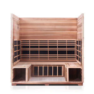 Enlighten Sauna Sierra 5 Person Slope Roof with roof and front panel removed showing inside structure