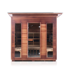Load image into Gallery viewer, Enlighten Sauna Rustic 5 Person Slope Roof front facing view with white background