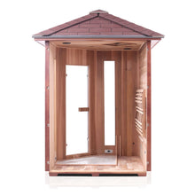 Load image into Gallery viewer, Enlighten Sauna Rustic 4 Person Corner Sauna with right side panel taken off showing the inside