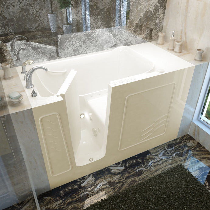 MediTub Walk-In 30 x 60 Left Drain Biscuit Whirlpool & Air Jetted Walk-In Bathtub - 3060WILBD