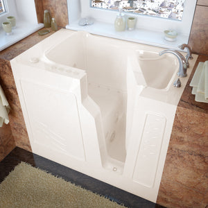 MediTub Walk-In 26 x 46 Right Drain Biscuit Whirlpool & Air Jetted Walk-In Bathtub - 2646RBD