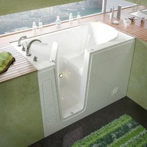 MediTub Walk-In 30 x 54 Left Drain White Soaking Walk-In Bathtub - 3054LWS