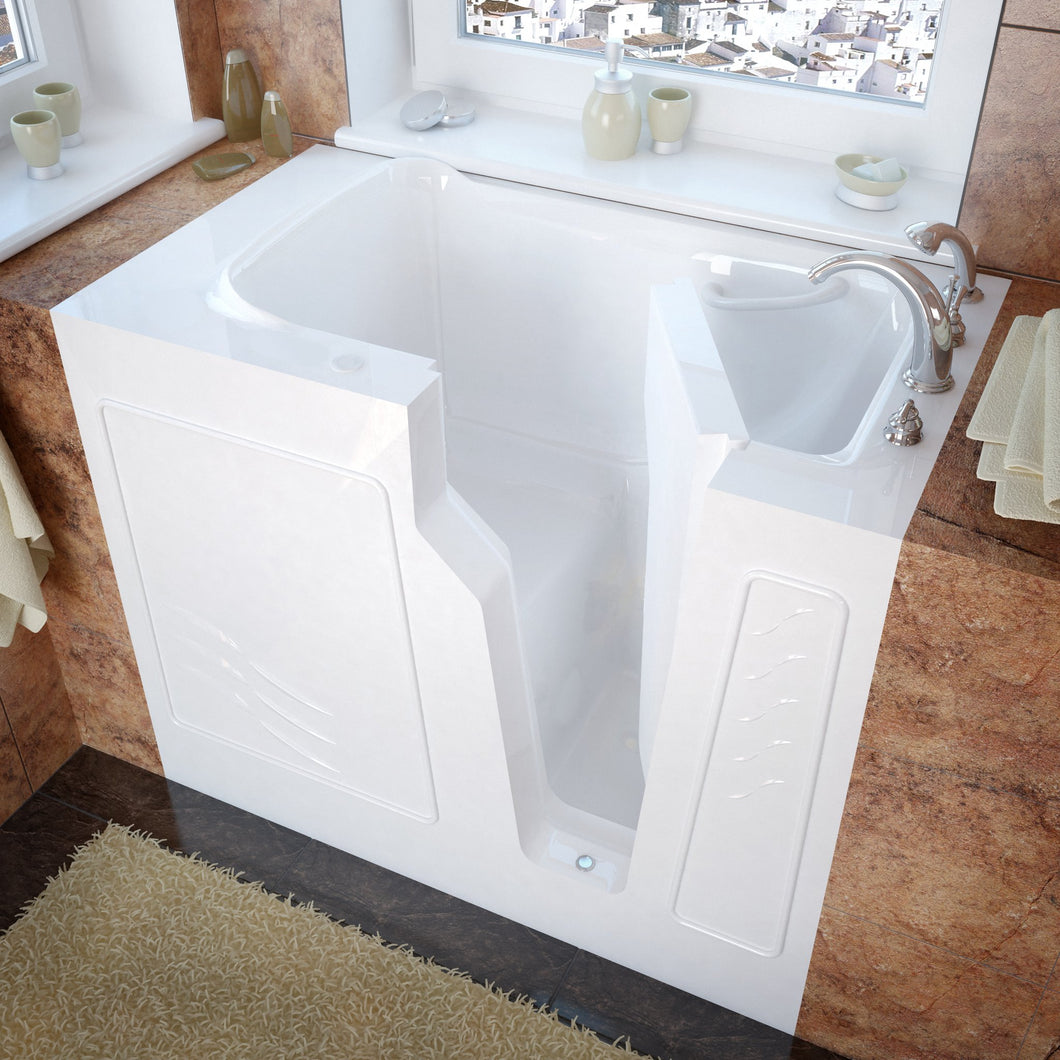 MediTub Walk-In 26 x 46 Right Drain White Soaking Walk-In Bathtub - 2646RWS