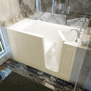 MediTub Walk-In 30 x 60 Right Drain Biscuit Whirlpool Jetted Walk-In Bathtub - 3060WIRBH