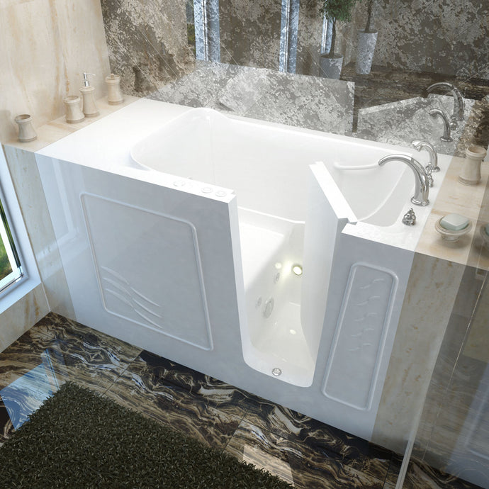 MediTub Walk-In 30 x 60 Right Drain White Whirlpool Jetted Walk-In Bathtub - 3060WIRWH