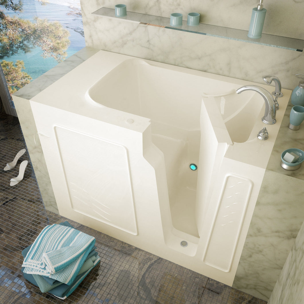 MediTub Walk-In 29 x 52 Left Drain Biscuit Soaking Walk-In Bathtub - 2952LBS