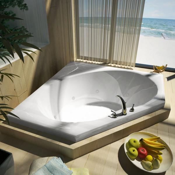 Atlantis Whirlpools Eclipse 60 x 60 Corner Whirlpool Jetted Bathtub Right Sided