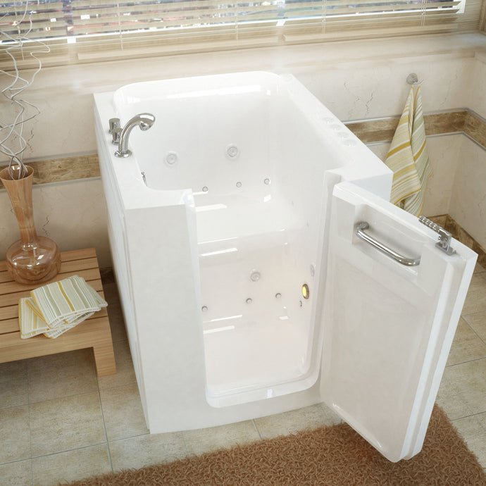 MediTub Walk-In 32 x 38 Right Door White Whirlpool & Air Jetted Walk-In Bathtub - 3238RWD