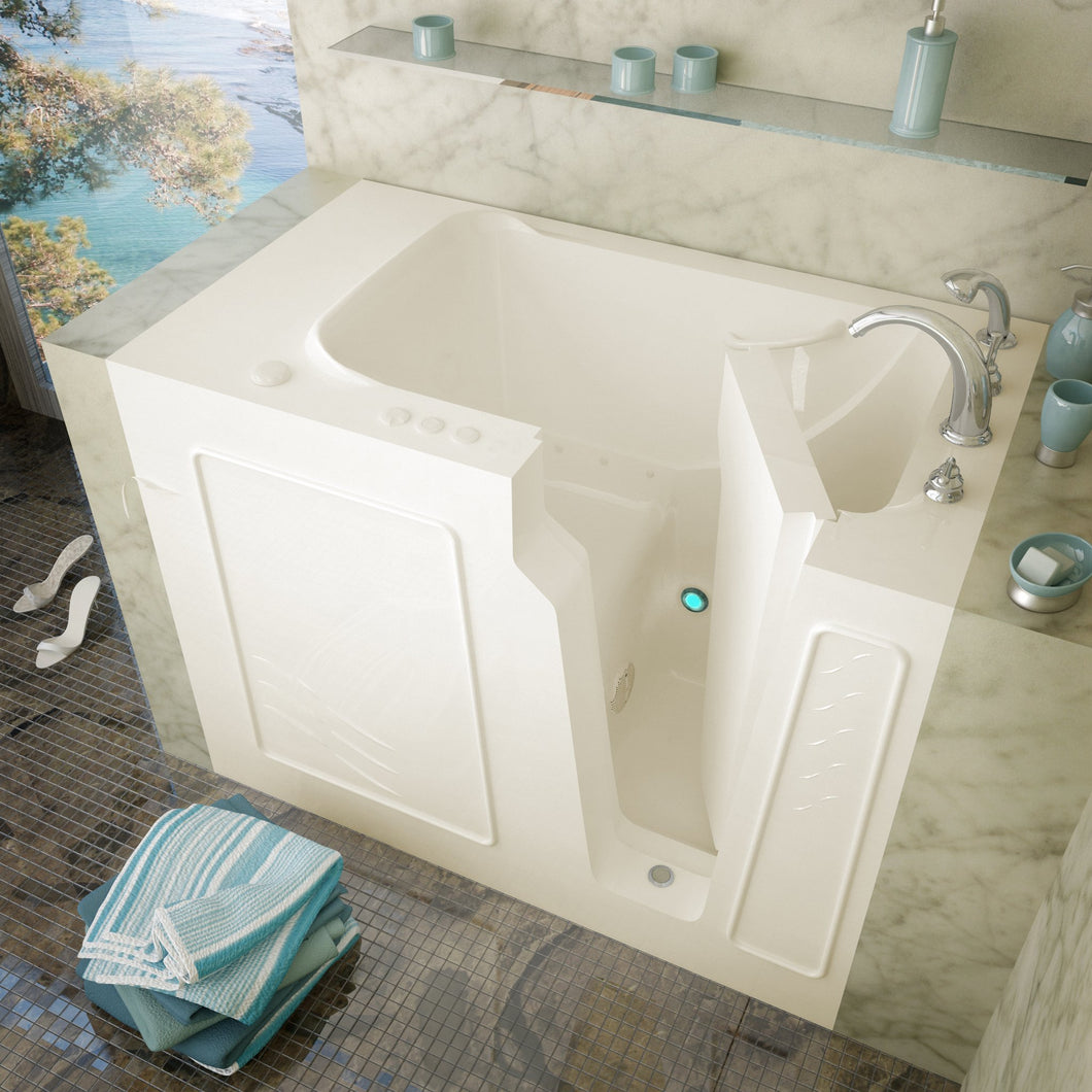 MediTub Walk-In 29 x 52 Left Drain Biscuit Air Jetted Walk-In Bathtub - 2952LBA
