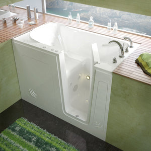 MediTub Walk-In 30 x 54 Right Drain White Whirlpool Jetted Walk-In Bathtub - 3054RWH