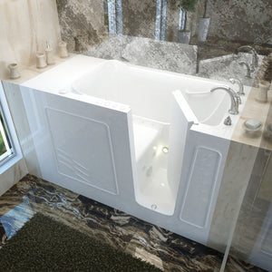 MediTub Walk-In 30 x 60 Right Drain White Whirlpool & Air Jetted Walk-In Bathtub - 3060WIRWD