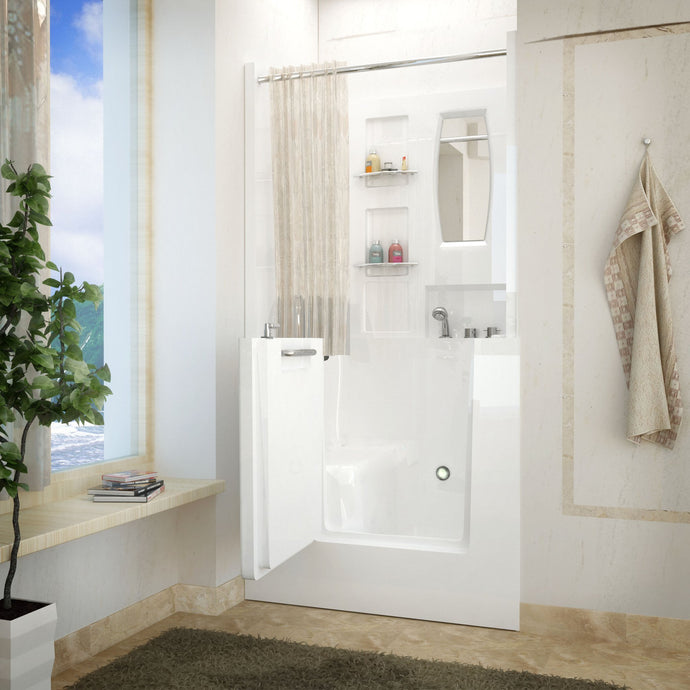 MediTub Walk-In 31 x 40 Right Drain White Soaking Walk-In Bathtub - 3140RWS