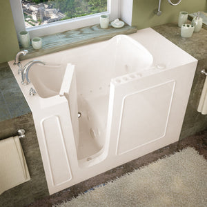 MediTub Walk-In 26 x 53 Left Drain Biscuit Whirlpool & Air Jetted Walk-In Bathtub - 2653LBD