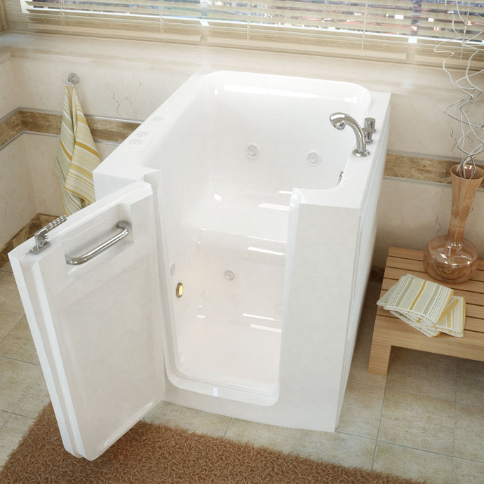 MediTub Walk-In 32 x 38 Left Door White Whirlpool Jetted Walk-In Bathtub - 3238LWH