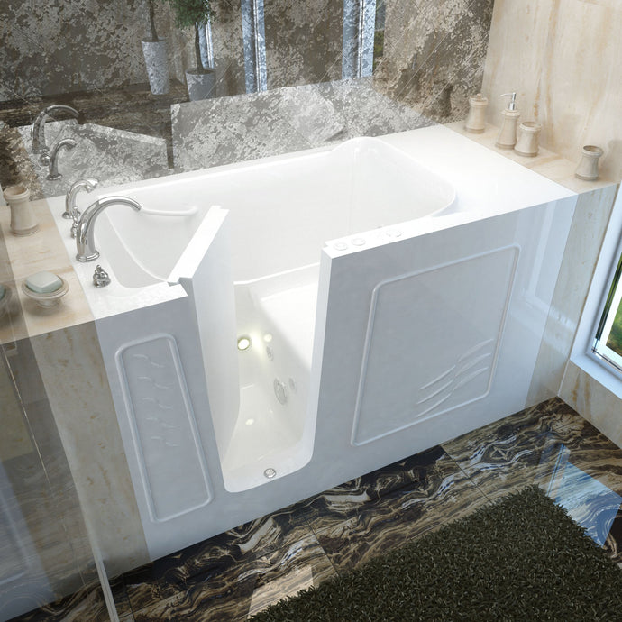 MediTub Walk-In 30 x 60 Left Drain White Whirlpool Jetted Walk-In Bathtub - 3060WILWH