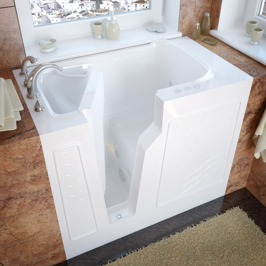MediTub Walk-In 26 x 46 Left Drain White Whirlpool Jetted Walk-In Bathtub - 2646LWH