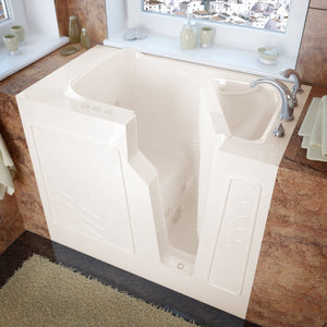 MediTub Walk-In 26 x 46 Right Drain Biscuit Whirlpool Jetted Walk-In Bathtub - 2646RBH