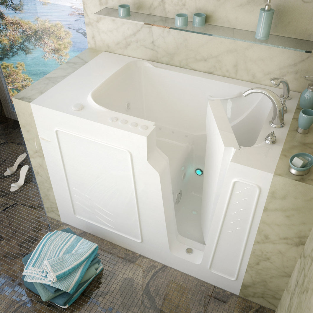 MediTub Walk-In 29 x 52 Right Drain White Whirlpool & Air Jetted Walk-In Bathtub - 2952RWD