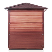 Load image into Gallery viewer, Enlighten Sauna Rustic 4 Person Peak Roof back facing view with white background