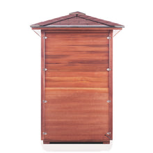 Load image into Gallery viewer, Enlighten Sauna Rustic 2 Person Peak Roof Back View