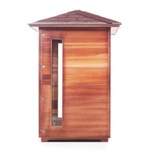 Load image into Gallery viewer, Enlighten Sauna Rustic 2 Person Peak Roof Right Side View in White Background