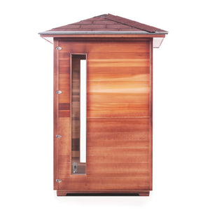 Enlighten Sauna Rustic 2 Person Peak Roof Right Side View in White Background